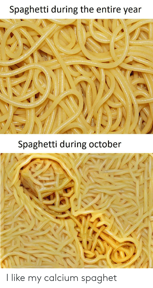Spaghetti, Calcium, and October: Spaghetti during the entire year  res  Spaghetti during october I like my calcium spaghet
