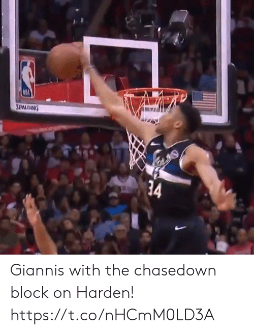 giannis: SPALDING  34 Giannis with the chasedown block on Harden! https://t.co/nHCmM0LD3A