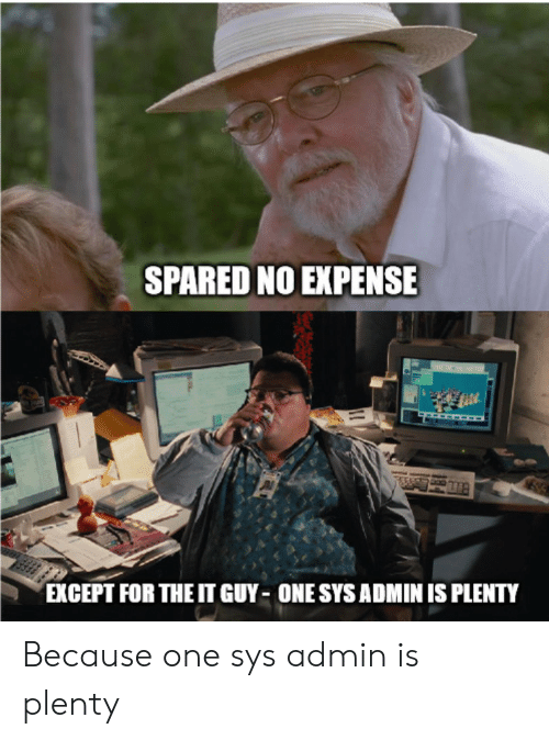 Expense: SPARED NO EXPENSE  EXCEPT FOR THE IT GUY ONE SYS ADMIN IS PLENTY Because one sys admin is plenty