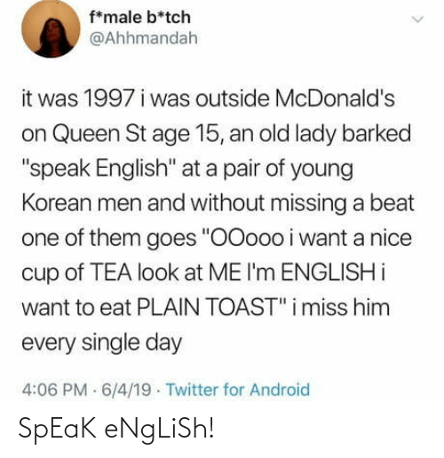 English: SpEaK eNgLiSh!