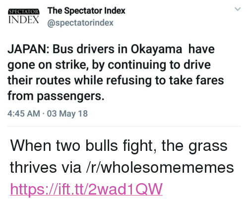 """Bulls, Drive, and Japan: SPECIAIOR The Spectator Inde)x  INDEX @spectatorindex  JAPAN: Bus drivers in Okayama have  gone on strike, by continuing to drive  their routes while refusing to take fares  from passengers.  4:45 AM 03 May 18 <p>When two bulls fight, the grass thrives via /r/wholesomememes <a href=""""https://ift.tt/2wad1QW"""">https://ift.tt/2wad1QW</a></p>"""