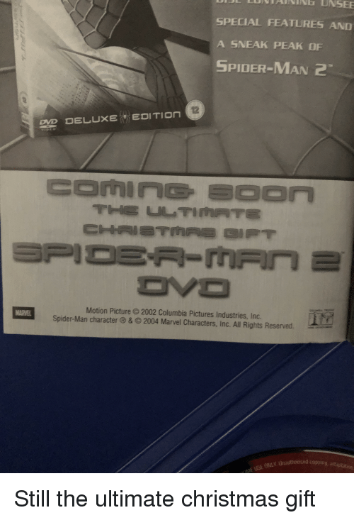 Christmas, Spider, and SpiderMan: SPECIAL FEATURES AND  A SNEAK PEAK OF  SPIDER-MAN 2  Motion Picture 2002 Columbia Pictures Industries, Inc.  Spider-Man character ® & © 2004 Marvel Characters, Inc. All Rights Reserved.