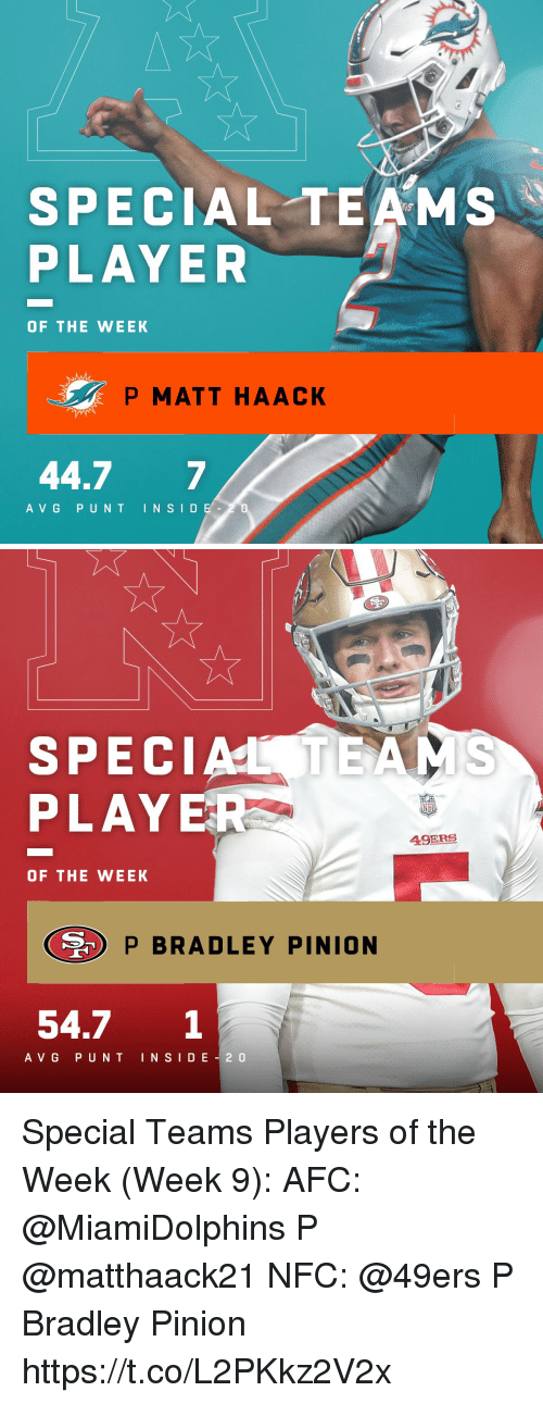 San Francisco 49ers, Memes, and 🤖: SPECIAL TEAMS  PLAYER  OF THE WEEK  P MATT HAACK  44.7 7  A VG PUNT INSID  0   SPECIATEAS  PLAYE  A9ERS  OF THE WEEK  P BRADLEY PINION  54.7 1  A VG PUNT INSI D E 2 0 Special Teams Players of the Week (Week 9):  AFC: @MiamiDolphins P @matthaack21 NFC: @49ers P Bradley Pinion https://t.co/L2PKkz2V2x