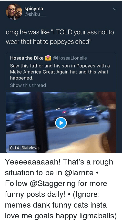 """America, Ass, and Cats: spicyma  @shiku  omg he was like """"i TOLD your ass not to  wear that hat to popeyes chad""""  Hoseá the Dike@HoseaLionelle  Saw this father and his son in Popeyes with a  Make America Great Again hat and this what  happened.  Show this thread  0:14 6M views Yeeeeaaaaaah! That's a rough situation to be in @larnite • ➫➫➫ Follow @Staggering for more funny posts daily! • (Ignore: memes dank funny cats insta love me goals happy ligmaballs)"""