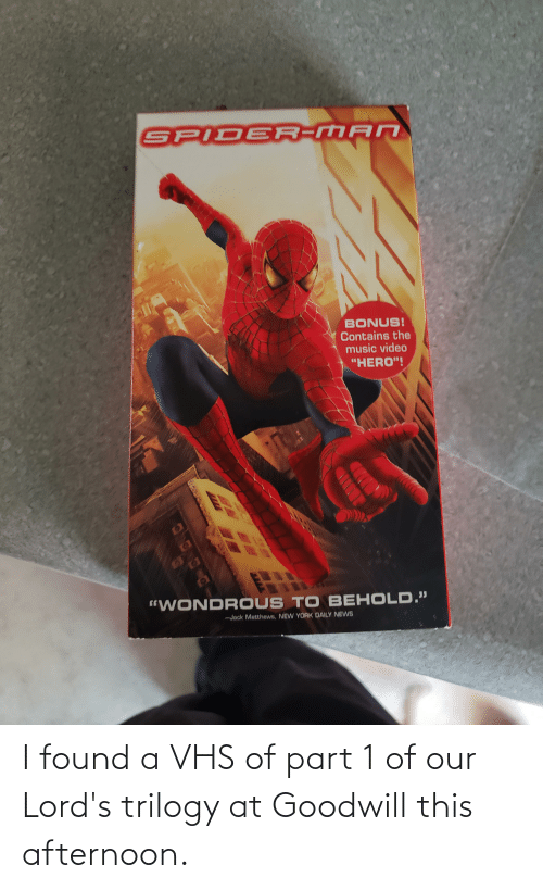 """vhs: SPIDER-MAN  BONUS!  Contains the  music video  """"HERO""""!  """"WONDR OUS TO BEHOLD.""""  -Jack Matthews, NEW YORK DAILY NEWS I found a VHS of part 1 of our Lord's trilogy at Goodwill this afternoon."""