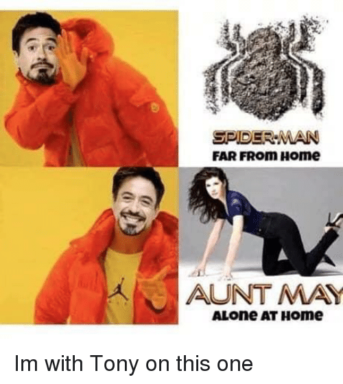 Being Alone, Spider, and SpiderMan: SPIDER MAN  FAR FRom Home  AUNTMA  ALone AT HOme Im with Tony on this one