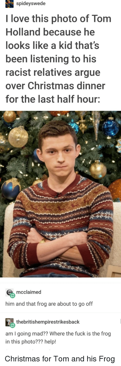 christmas dinner: spideyswede  I love this photo of Tom  Holland because he  looks like a kid that's  been listening to his  racist relatives argue  over Christmas dinner  for the last half hour:  mcclaimed  him and that frog are about to go off  thebritishempirestrikesback  am I going mad?? Where the fuck is the frog  in this photo??? help! Christmas for Tom and his Frog