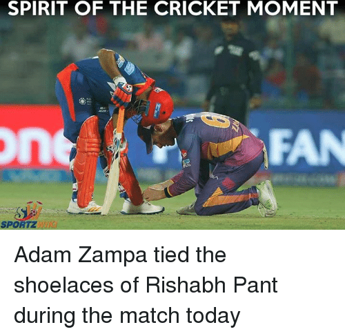 Rishabh Pant: SPIRIT OF THE CRICKET MOMENT  FAN  SPORTZ Adam Zampa tied the shoelaces of Rishabh Pant during the match today