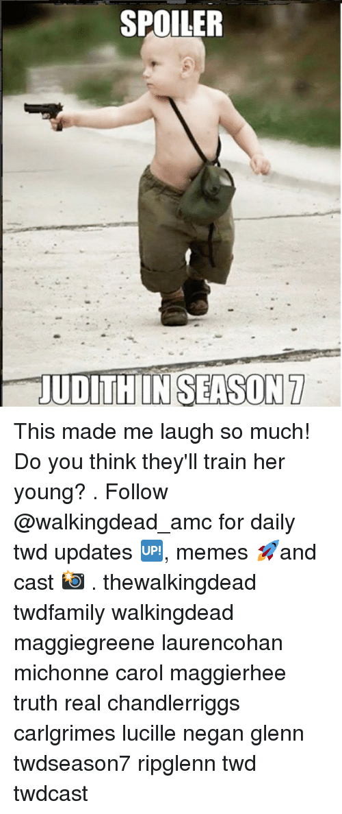 Carole: SPOILER  UDITHIIN SEASON7 This made me laugh so much! Do you think they'll train her young? . Follow @walkingdead_amc for daily twd updates 🆙, memes 🚀and cast 📸 . thewalkingdead twdfamily walkingdead maggiegreene laurencohan michonne carol maggierhee truth real chandlerriggs carlgrimes lucille negan glenn twdseason7 ripglenn twd twdcast