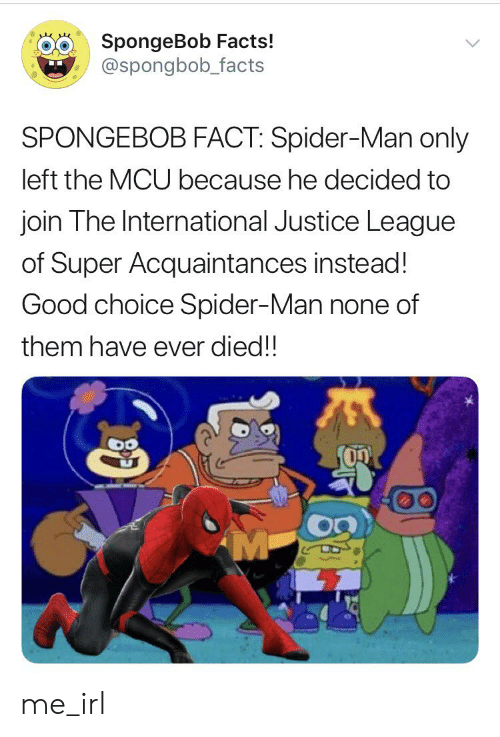 Facts, Spider, and SpiderMan: SpongeBob Facts!  @spongbob_facts  SPONGEBOB FACT: Spider-Man only  left the MCU because he decided to  join The International Justice League  of Super Acquaintances instead!  Good choice Spider-Man none of  them have ever died!!  M me_irl