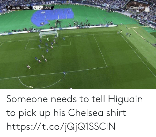Chelsea, Memes, and 🤖: Sport  31:55  CHL Someone needs to tell Higuain to pick up his Chelsea shirt https://t.co/jQjQ1SSClN