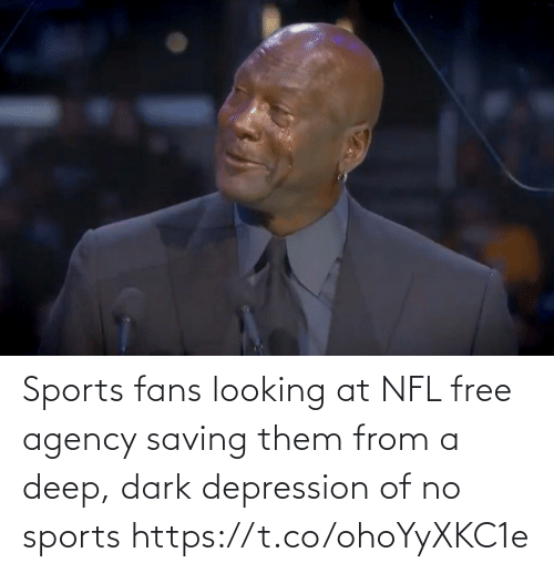 Football, Nfl, and Sports: Sports fans looking at NFL free agency saving them from a deep, dark depression of no sports https://t.co/ohoYyXKC1e