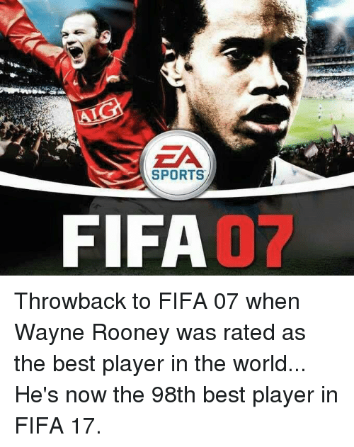 Fifa 17: SPORTS  FIFA Throwback to FIFA 07 when Wayne Rooney was rated as the best player in the world... He's now the 98th best player in FIFA 17.