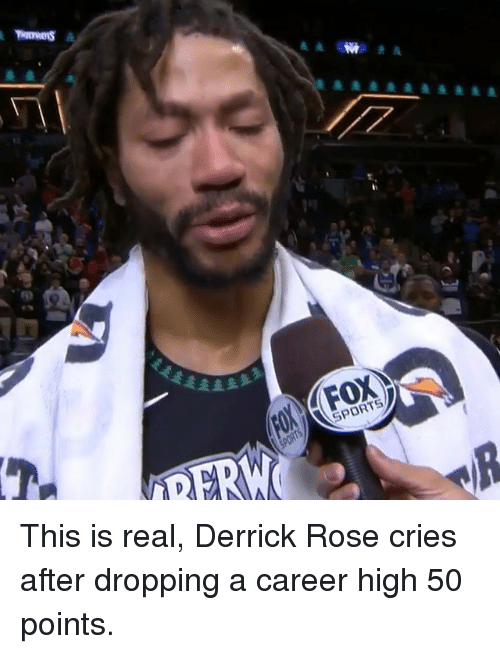 Derrick Rose, Nba, and Sports: SPORTS This is real, Derrick Rose cries after dropping a career high 50 points.