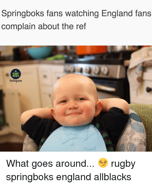 England, Memes, and Rugby: Springboks fans watching England fans  complain about the ref  RUGBY  MEMES  Inslagiam What goes around... 😏 rugby springboks england allblacks