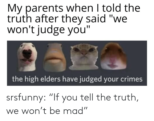 "If You: srsfunny:  ""If you tell the truth, we won't be mad"""