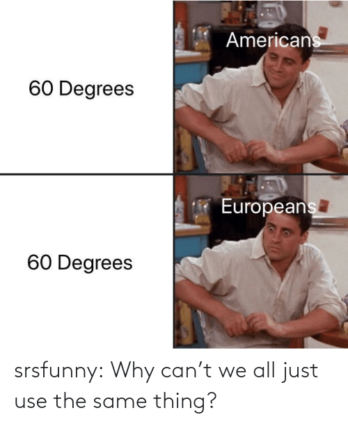 same: srsfunny:  Why can't we all just use the same thing?