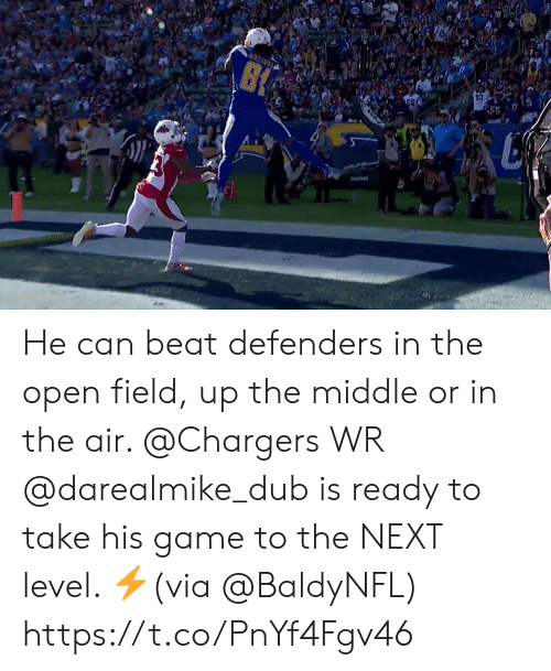 Defenders: SS  56  ILLIAN  B He can beat defenders in the open field, up the middle or in the air.   @Chargers WR @darealmike_dub is ready to take his game to the NEXT level. ⚡(via @BaldyNFL) https://t.co/PnYf4Fgv46