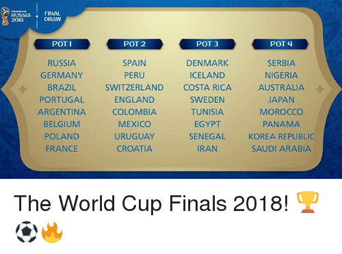 Morocco: SSIFI2w  FINAL  DRAW  2018  POT 2  POT 3  POT 4  RUSSIA  GERMANY  BRAZIL  PORTUGAL  ARGENTINA  SERBIA  NIGERIA  AUSTRALIA  JAPAN  MOROCCO  PANAMA  KOREA REPUBLIC  SAUDI ARABIA  DENMARK  ICELAND  SWITZERLAND COSTA  RICA  ENGLAND  COLOMBIA  MEXICO  URUGUAY  CROATIA  SWEDEN  TUNISIA  EGYPT  SENEGAL  IRAN  POLAND  FRANCE The World Cup Finals 2018! 🏆⚽️🔥
