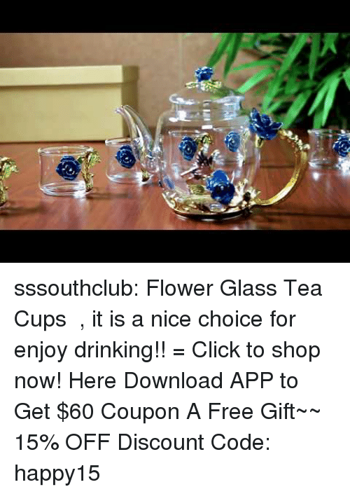 Click, Drinking, and Family: sssouthclub: Flower Glass Tea Cups  , it is a nice choice for enjoy drinking!! = Click to shop now!  ➷Here Download APP to Get $60 Coupon  A Free Gift~~ 15% OFF Discount Code: happy15