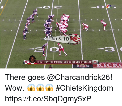 coeds: ST & 10  RB 27  HUNT (R): 140 RUSH YDS, 98 REC YDS, 3 TOTAL TD There goes @Charcandrick26!  Wow. 😱😱😱 #ChiefsKingdom https://t.co/SbqDgmy5xP