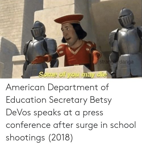 School, American, and Education: st  danga American Department of Education Secretary Betsy DeVos speaks at a press conference after surge in school shootings (2018)