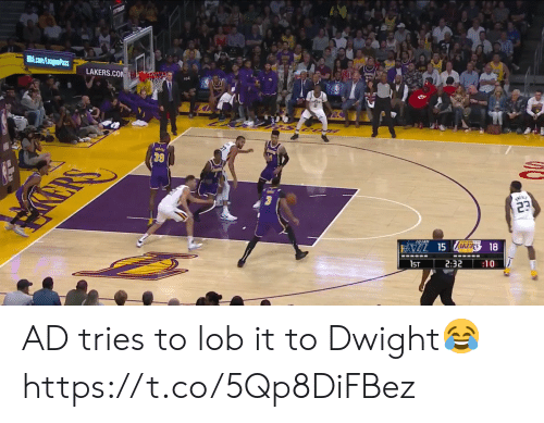 Los Angeles Lakers: ST5S  NBA.com/LeaguePass  LAKERS.COM  23  FAZL 15 ZAKERS 18  1ST  2:32  :10 AD tries to lob it to Dwight😂 https://t.co/5Qp8DiFBez