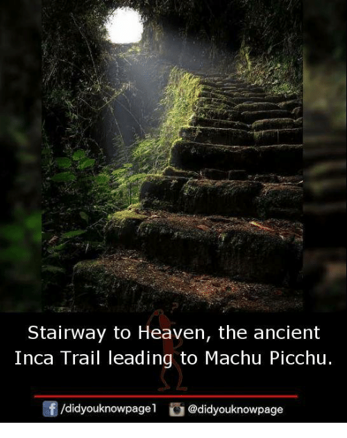 Heaven, Memes, and Stairway to Heaven: Stairway to Heaven, the ancient  Inca Trail leading to Machu Picchu  団/d.dyouknowpagel  @d.dyouknowpage