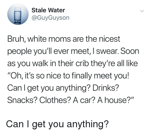"""Bruh, Clothes, and Moms: Stale Water  @GuyGuyson  Bruh, white moms are the nicest  people you'll ever meet, I swear. Soon  as you walk in their crib they're all like  """"Oh, it's so nice to finally meet you!  Canl get you anything? Drinks?  Snacks? Clothes? A car? A house?"""" Can I get you anything?"""