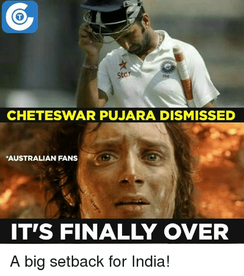 Finals Over: Stan  CHETESWAR PUJARA DISMISSED  *AUSTRALIAN FANS  ITS FINAL OVER A big setback for India!
