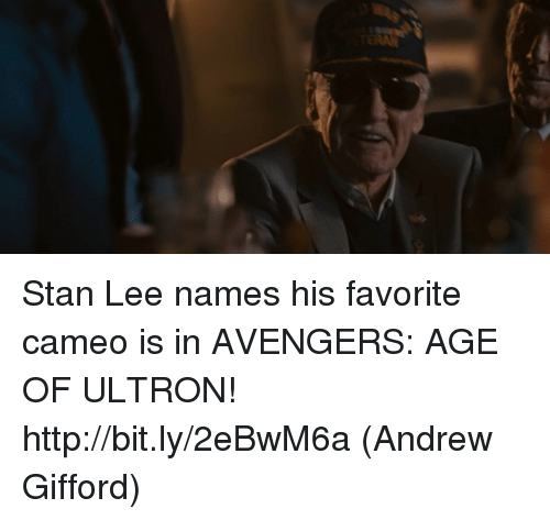 Avengers Age of Ultron, Memes, and Stan: Stan Lee names his favorite cameo is in AVENGERS: AGE OF ULTRON! http://bit.ly/2eBwM6a  (Andrew Gifford)