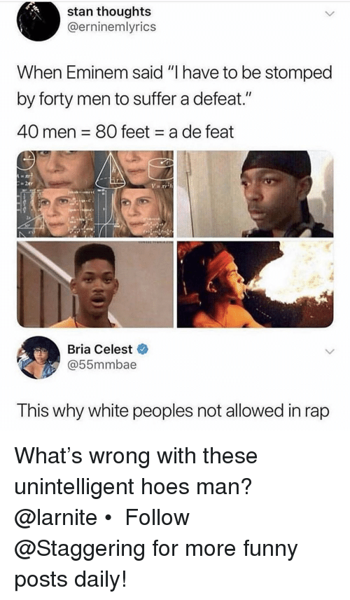 """Eminem, Funny, and Hoes: stan thoughts  @erninemlyrics  When Eminem said """"l nave to be stomped  by forty men to suffer a defeat.""""  40 men 80 feet a de feat  Bria Celest  @55mmbae  T his why white peoples not allowed in rap What's wrong with these unintelligent hoes man? @larnite • ➫➫➫ Follow @Staggering for more funny posts daily!"""