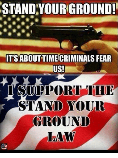Criminations: STAND YOURGROUND!  ITSABOUT TIME CRIMINALS FEAR  US!  I SUPPORT  STAND YOUR  GROUND