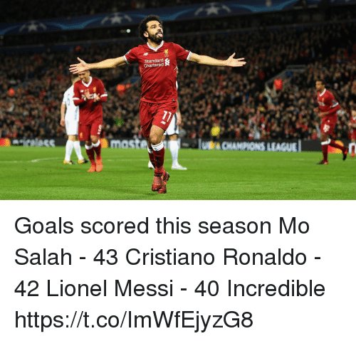 Cristiano Ronaldo, Goals, and Memes: Standard  Chartered  mast  LEAGUE Goals scored this season  Mo Salah - 43 Cristiano Ronaldo - 42 Lionel Messi - 40  Incredible https://t.co/ImWfEjyzG8