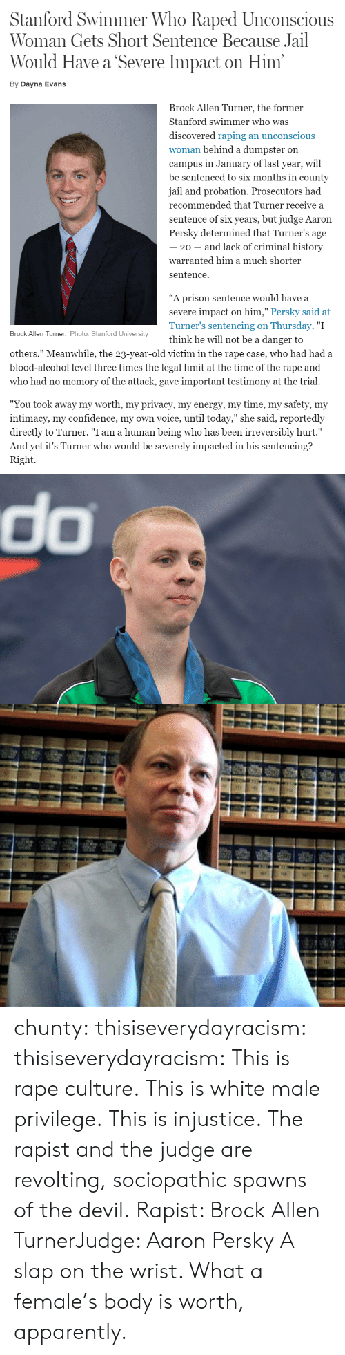 """Apparently, Confidence, and Jail: Stanford Swimmer Who Raped Unconscious  Woman Gets Short Sentence Because Jail  Would Have a Severe Impact on Him  By Dayna Evans  Brock Allen Turner, the former  Stanford swimmer who was  discovered raping an unconscious  woman behind a dumpster on  campus in January of last year, will  be sentenced to six months in county  jail and probation. Prosecutors had  recommended that Turner receive a  sentence of six years, but judge Aaron  Persky determined that Turner's age  20 - and lack of criminal history  warranted him a much shorter  sentence.  """"A prison sentence would have a  severe impact on him,"""" Persky said at  Turner's sentencing on Thursday. """"I  think he will not be a danger to  Brock Allen Turner. Photo: Stanford University  others."""" Meanwhile, the 23-year-old victim in the rape case, who had had a  blood-alcohol level three times the legal limit at the time of the rape and  who had no memory of the attack, gave important testimony at the trial.  """"You took away my worth, my privacv, my energv, my time, my safetv, my  intimacy, my confidence, my own voice, until today,"""" she said, reportedly  directly to Turner. """"I am a human being who has been irreversibly hurt.""""  And yet it's Turner who would be severely impacted in his sentencing?  Right.   do chunty:  thisiseverydayracism:  thisiseverydayracism:  This is rape culture.  This is white male privilege.  This is injustice.  The rapist and the judge are revolting, sociopathic spawns of the devil.  Rapist: Brock Allen TurnerJudge: Aaron Persky  A slap on the wrist. What a female's body is worth, apparently."""