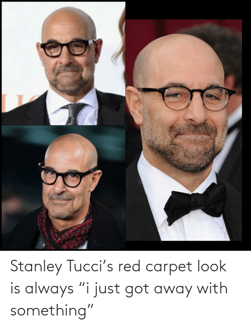 "stanley: Stanley Tucci's red carpet look is always ""i just got away with something"""