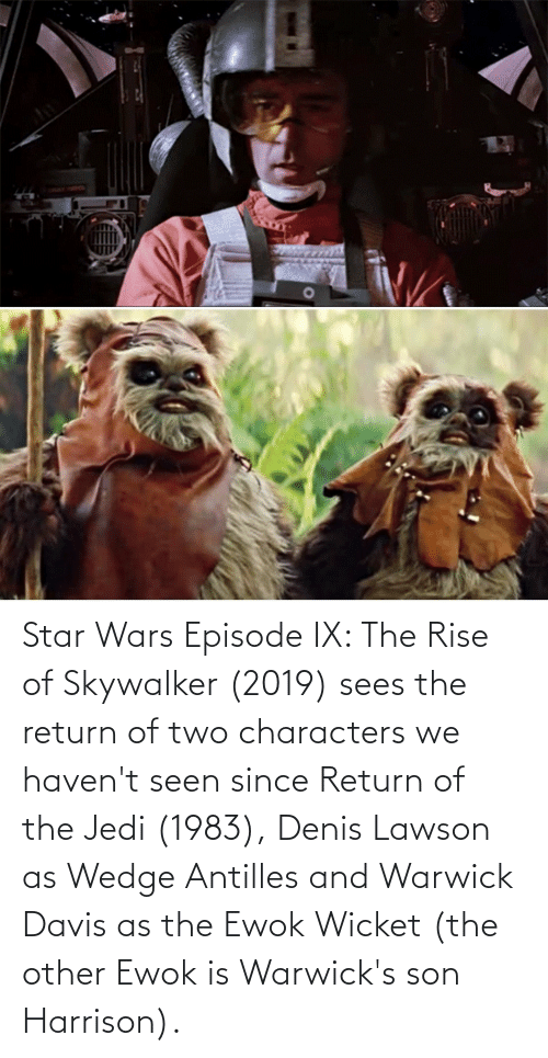 davis: Star Wars Episode IX: The Rise of Skywalker (2019) sees the return of two characters we haven't seen since Return of the Jedi (1983), Denis Lawson as Wedge Antilles and Warwick Davis as the Ewok Wicket (the other Ewok is Warwick's son Harrison).