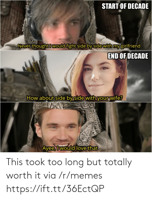 Ayee: START OF DECADE  Never thought Iwould fight side by side with my girlfriend  END OF DECADE  How about side byside with yourwife?  Ayee, Iwould love that This took too long but totally worth it via /r/memes https://ift.tt/36EctQP