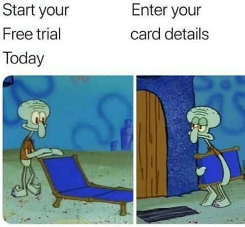 Free, Today, and Details: Start your  Free trial  Today  Enter your  card details