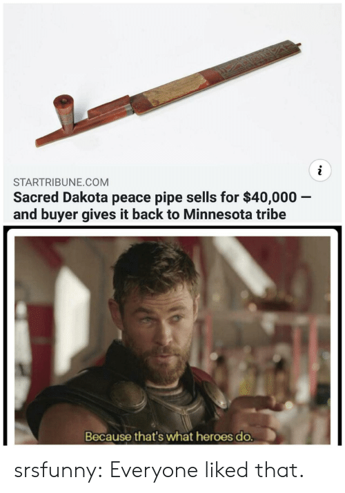 Minnesota: STARTRIBUNE.COM  Sacred Dakota peace pipe sells for $40,000 -  and buyer gives it back to Minnesota tribe  Because that's what heroes do. srsfunny:  Everyone liked that.