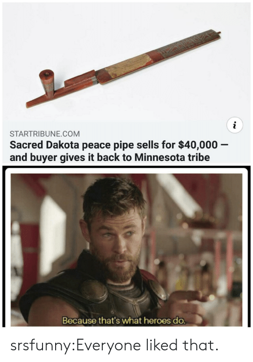 Minnesota: STARTRIBUNE.COM  Sacred Dakota peace pipe sells for $40,000 -  and buyer gives it back to Minnesota tribe  Because that's what heroes do. srsfunny:Everyone liked that.