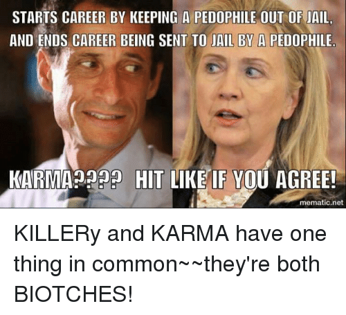 Pedophillic: STARTS CAREER BY KEEPING A PEDOPHILE OUT OF JAIL.  AND ENDS CAREER BEING SENT TO JAIL BY A PEDOPHILE  KARMA HIT LIKE IF YOU AGREE!  mematic net KILLERy and KARMA have one thing in common~~they're both BIOTCHES!