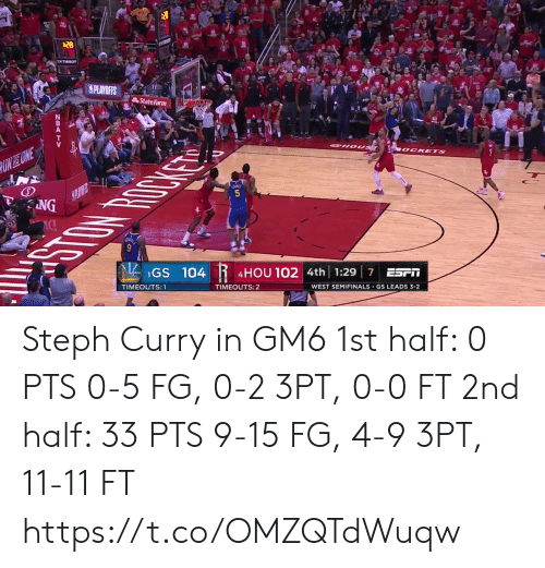 Memes, State Farm, and Steph Curry: State Farm  GS 104  4HOU 102  4th 1:29 7 ESrI  TIMEOUTS:  TIMEOUTS:2  WEST SEMIFINALS-GS LEADS 3-2 Steph Curry in GM6  1st half: 0 PTS 0-5 FG, 0-2 3PT, 0-0 FT  2nd half: 33 PTS 9-15 FG, 4-9 3PT, 11-11 FT  https://t.co/OMZQTdWuqw