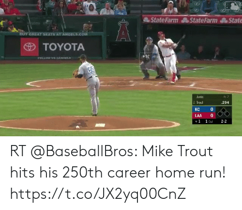 Run, Toyota, and Angels: State Farm StateFarmState  BUY GREAT SEATS AT ANGELS.CO  TOYOTA  Junis  2  Trout  294  0  KC  LAA 0  1 1 Out 2-2 RT @BaseballBros: Mike Trout hits his 250th career home run! https://t.co/JX2yq00CnZ