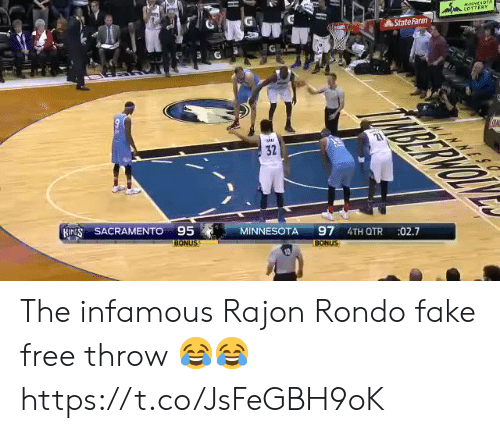 Minnesota: StateFarm  32  ,  SACRAMENTO95 MINNESOTA 97 41  27  BONUS  BONUS The infamous Rajon Rondo fake free throw 😂😂 https://t.co/JsFeGBH9oK