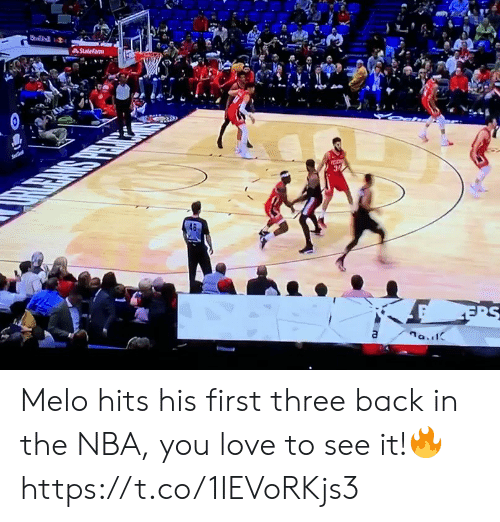 NBA: Statefarm  Se  a Melo hits his first three back in the NBA, you love to see it!🔥 https://t.co/1IEVoRKjs3