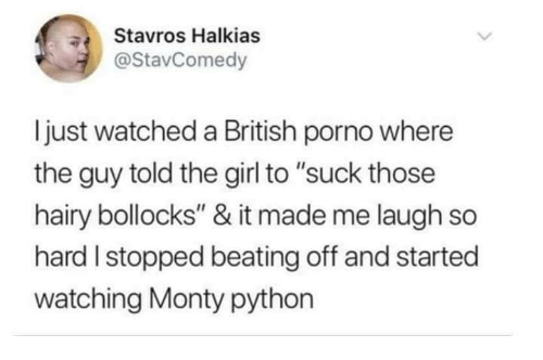 """monty python: Stavros Halkias  @StavComedy  ljust watched a British porno where  the guy told the girl to """"suck those  hairy bollocks"""" & it made me laugh so  hard I stopped beating off and started  watching Monty python"""
