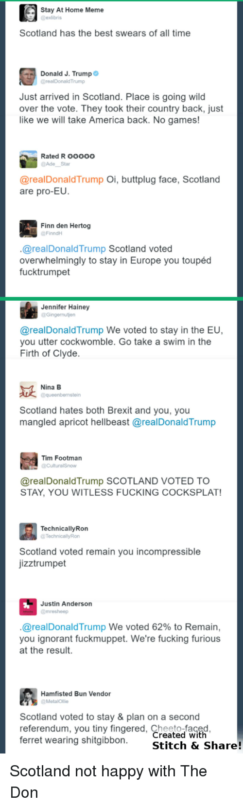 Shitgibbon: Stay At Home Meme  @exlibris  Scotland has the best swears of all time  Donald J. Trump  @realDonald'Trump  Just arrived in Scotland. Place is going wild  over the vote. They took their country back, just  like we will take America back. No games!  Rated Rooooo  Star  @real Donald Trump  Oi, buttplug face, Scotland  are pro-EU.  Finn den Hertog  FinndH  realDonald Trump Scotland voted  overwhelmingly to stay in Europe you toupéd  fucktrumpet  Jennifer Hainey  Gingernutien  @real Donald Trump We voted to stay in the EU,  you utter cockwomble. Go take a swim in the  Firth of Clyde  Nina B  aqueenbernstein  Scotland hates both Brexit and you, you  mangled apricot hellbeast arealDonaldTrump  Tim Footman  areal Donald Trump SCOTLAND VOTED TO  STAY, YOU WITLESS FUCKING COCKSPLAT!  Technically Ron  @TechnicallyRon  Scotland voted remain you incompressible  jizztrumpet  Justin Anderson  @mre sheep  areal Donald Trump We voted 62% to Remain,  you ignorant fuckmuppet. We're fucking furious  at the result.  Hamfisted Bun Vendor  a MetalOllie  Scotland voted to stay & plan on a second  referendum, you tiny fingered, Created with  ferret wearing shitgibbon  Stitch & Share! Scotland not happy with The Don