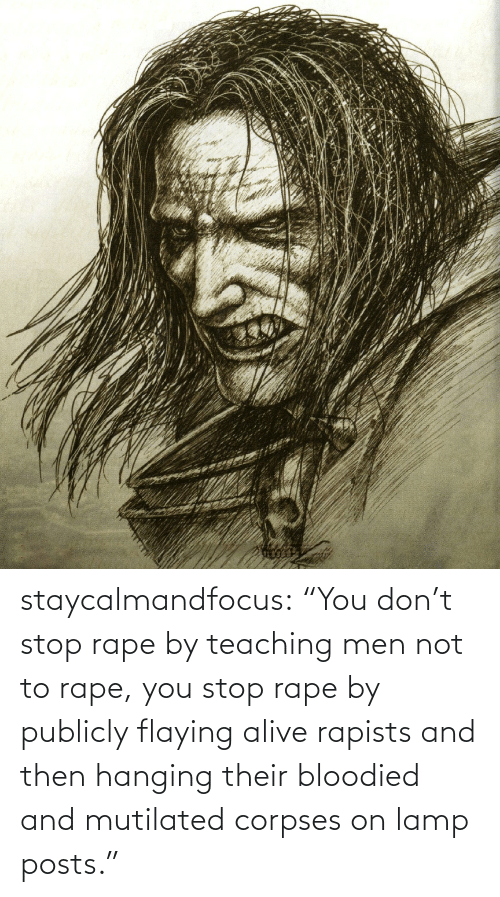 "Teaching: staycalmandfocus:  ""You don't stop rape by teaching men not to rape, you stop rape by publicly flaying alive rapists and then hanging their bloodied and mutilated corpses on lamp posts."""