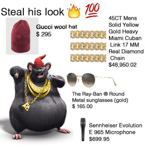 sennheiser: Steal his look Oy  45CT Mens  Solid Yellow  Gucci wool hat  Gold Heavy  295  Miami Cuban  Link 17 MM  Real Diamond  Chain  $48,950.02  The Ray-Ban ® Round  Metal sunglasses (gold)  165.00  Sennheiser Evolution  E 965 Microphone  $699.95